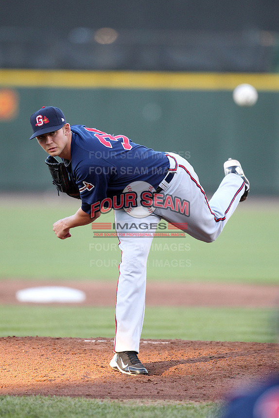 Gwinnett Braves starting pitcher Mike Minor #36 delivers a pitch during a game against the Rochester Red Wings at Frontier Field on May 5, 2011 in Rochester, New York.  Rochester defeated Gwinnett by the score of 3-2.  Photo By Mike Janes/Four Seam Images