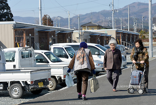 February 28, 2013, Minami-Soma City, Japan - Only 350 families, most of them elderly people, are housed in this temporary shelter in Minami-Soma, located some 36 km north of the troubled nuclear power plant, on February 28, 2013. Almost two years have come and gone since the March 11, 2011, disaster that destroyed much of the nation's northeastern seaboard with the deadly earthquake and ensuing tsunami followed by the meltdown of the power plant's reactors.  (Photo by Natsuki Sakai/AFLO)