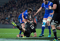 France's Maxime Medard hands off NZ's Anton Lienert-Brown during the Steinlager Series international rugby match between the New Zealand All Blacks and France at Eden Park in Auckland, New Zealand on Saturday, 9 June 2018. Photo: Dave Lintott / lintottphoto.co.nz