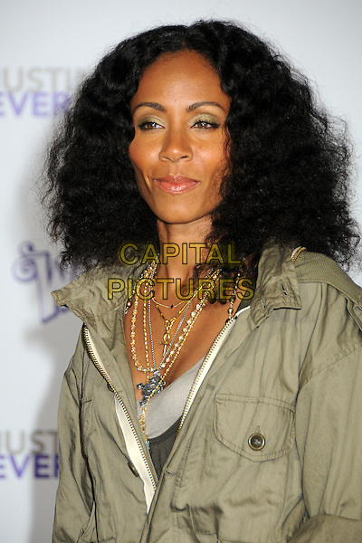 "JADA PINKETT SMITH.""Justin Bieber: Never Say Never"" Los Angeles Premiere held at Nokia Theater L.A. Live, Los Angeles, California, USA..February 8th, 2011.half length headshot portrait necklaces gold green curly hair eyeshadow khaki .CAP/ADM/BP.©Byron Purvis/AdMedia/Capital Pictures."