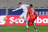 Harrison, NJ - Thursday March 01, 2018: Alex Muyl, Nicolas Del Grecco. The New York Red Bulls defeated C.D. Olimpia 2-0 (3-1 on aggregate) during a 2018 CONCACAF Champions League Round of 16 match at Red Bull Arena.