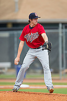 Elizabethton Twins starting pitcher Sam Gibbons (35) in action against the Johnson City Cardinals at Cardinal Park on July 27, 2014 in Johnson City, Tennessee.  The game was suspended in the top of the 5th inning with the Twins leading the Cardinals 7-6.  (Brian Westerholt/Four Seam Images)