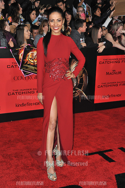 Meta Golding at the US premiere of her movie &quot;The Hunger Games: Catching Fire&quot; at the Nokia Theatre LA Live.<br /> November 18, 2013  Los Angeles, CA<br /> Picture: Paul Smith / Featureflash