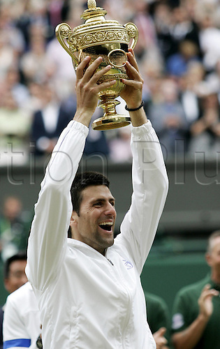 03 07 2011   London England. Mens singles finals. Novak Djokovic versus Rafael Nadal. Final Award Ceremony Picture shows Novak Djokovic Srb with his winners Cup