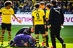 11.05.2019, Signal Iduna Park, Dortmund, GER, 1.FBL, Borussia Dortmund vs Fortuna D&uuml;sseldorf, DFL REGULATIONS PROHIBIT ANY USE OF PHOTOGRAPHS AS IMAGE SEQUENCES AND/OR QUASI-VIDEO<br /> <br /> im Bild | picture shows:<br /> Marwin Hitz (Borussia Dortmund #35) liegt nach einem Zusammenprall mit Dodi Lukebakio (Fortuna #20)  benommen um Strafraum und muss lange behandelt werden, <br /> <br /> Foto &copy; nordphoto / Rauch