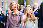 (L to R) Queen Sofia and Princess of Asturias Leonor arrive to Teatro Campoamor for Princess of Asturias Awards 2019 in Oviedo. October 18, 2019 (Alterphotos/ Francis Gonzalez)