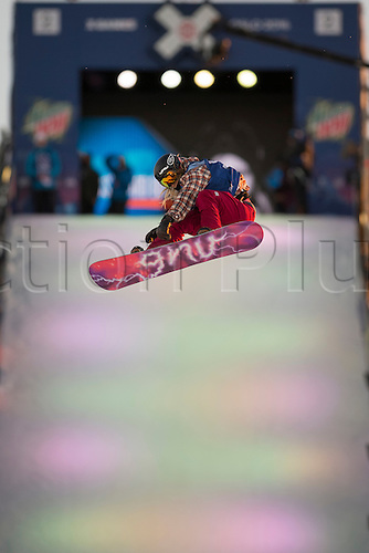 27.02.2016. Toyen, Big Jump Oslo, Norway.  Red Bull X Games Oslo 2016. Ladies Snowboard Big Air Final. Kjersti Oestgaard Buaas of Norway in action during the Ladies Snowboard Big Air Final at the Red Bull X Games Oslo 2016 in Toyen Big Jump  Oslo, Norway.