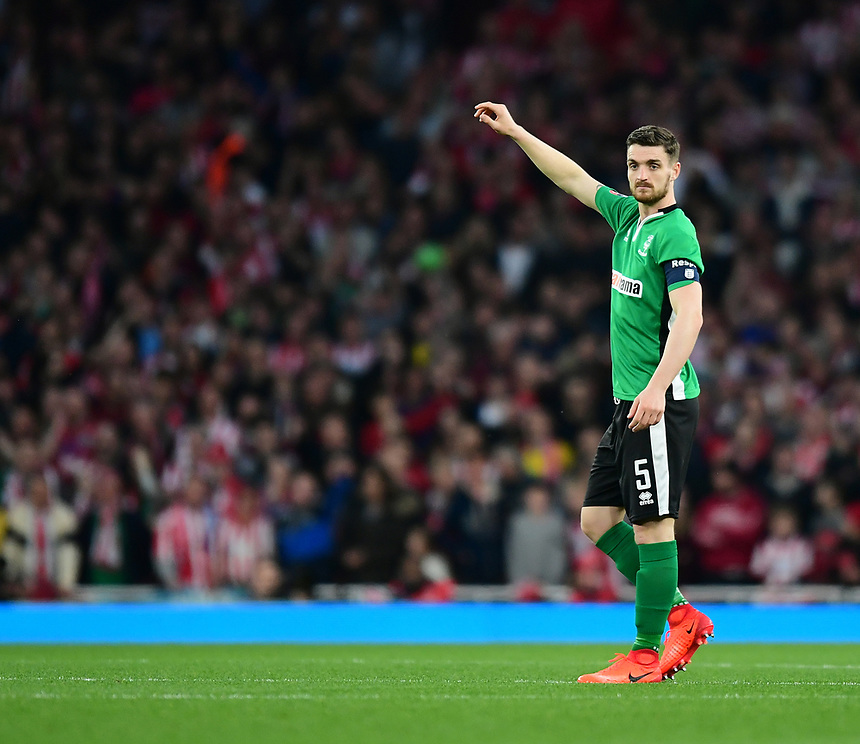 Lincoln City's Luke Waterfall<br /> <br /> Photographer Chris Vaughan/CameraSport<br /> <br /> The Emirates FA Cup Quarter-Final - Arsenal v Lincoln City - Saturday 11th March 2017 - The Emirates - London<br />  <br /> World Copyright &copy; 2017 CameraSport. All rights reserved. 43 Linden Ave. Countesthorpe. Leicester. England. LE8 5PG - Tel: +44 (0) 116 277 4147 - admin@camerasport.com - www.camerasport.com