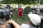 04 June 2012: Alejandro Moreno (VEN) talks to the media. Chivas USA held a training session on Field 6 at WakeMed Soccer Park in Cary, NC the day before playing in a 2012 Lamar Hunt U.S. Open Cup fourth round game.