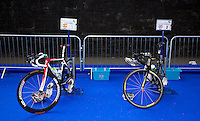 04 JUL 2010 - ATHLONE, IRL - Javier Gomez and Alistair Brownlee's bike stand in transition during the European Elite Mens Triathlon Championships (PHOTO (C) NIGEL FARROW)