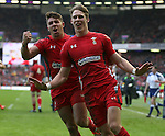 Rhys Webb (l) and scorer Liam Williams of Wales (r) celebrates a try that was not allowed - RBS 6Nations 2015 - Scotland  vs Wales - BT Murrayfield Stadium - Edinburgh - Scotland - 15th February 2015 - Picture Simon Bellis/Sportimage