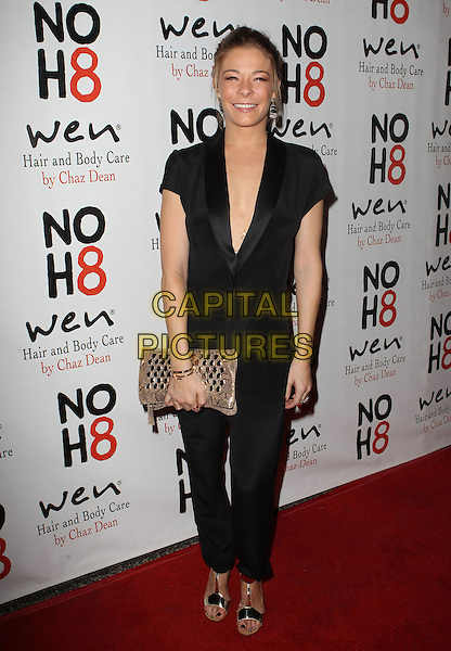 LeAnn Rimes.NOH8 Celebrity Studded 4th Anniversary Held At Avalon Dome, Hollywood, California, USA, .13th December 2012..full length black tuxedo tux catsuit trousers clutch bag gold sandals shoes open toe .CAP/ADM/KB.©Kevan Brooks/AdMedia/Capital Pictures.