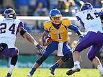 BROOKINGS, SD - OCTOBER 24:  Taryn Christion #1 from South Dakota State looks for room between Tim Kilfoy #24 and Shawn Rush #45 from University of Northern Iowa in the second quarter of their game Saturday afternoon at Coughlin Alumni Stadium in Brookings. (Photo by Dave Eggen/Inertia)