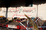 """Tunis, Tunisia. January 26th 2011.""""Democratie mon Amour"""" (""""Democraty My Love"""") written one a wall near the Kasbah Square....."""