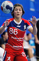30 MAY 2012 - LONDON, GBR - Marie Gerbron (GBR) of Great Britain prepares to catch a pass during the women's 2012 European Handball Championship qualification match against Montenegro at the National Sports Centre in Crystal Palace, Great Britain .(PHOTO (C) 2012 NIGEL FARROW)