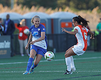 Allston, Massachusetts - May 22, 2015: In a National Women's Soccer League (NWSL) match, Boston Breakers (blue) tied Sky Blue FC (white/orange), 1-1, at Soldiers Field Soccer Stadium.