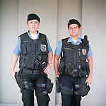 Patrol officers Liana Brum, 29, left, and Michelle Soares, 27<br /> Rapid Response Team<br /> Pacifying Police Unit<br /> Complexo do Caju, Rio de Janeiro, Brazil