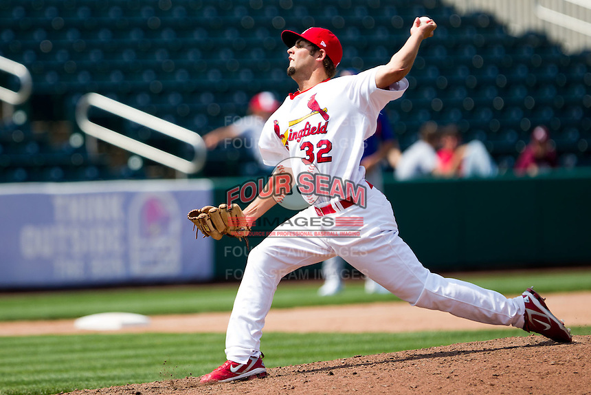 Nick Greenwood (32) of the Springfield Cardinals delivers a pitch during a game against the Midland RockHounds on April 19, 2011 at Hammons Field in Springfield, Missouri.  Photo By David Welker/Four Seam Images