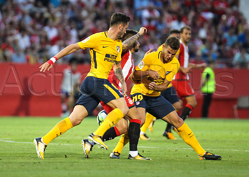 19th August 2017, Montilivi, Girona, Spain; La Liga football, Girona versus Atletico Madrid; Lucas and Saul foul between them;