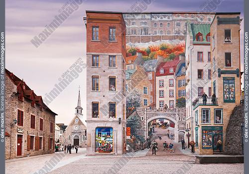 La Fresque des Québécois large wall mural fresco with Quebec history at the corner of Notre-Dame street in historic Old Quebec City. Quebec, Canada. Rue Notre-Dame, Ville de Québec.