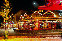 Whistler Resort, BC, British Columbia, Canada - Christmas Lights on Shops in Whistler Village