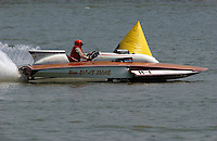 "2003 Madison Regatta, 5-6 July 2003, Madison, IN USA                                .Bill Sterett, Jr., ""Miss Crazy Thing"" H-1, 1971 Lauterbach 7 Litre Division I hydroplane (built as ""Miss Gangway"" H-6 for Richie Sutphen).F. Peirce Williams .photography.P.O.Box 455  Eaton, OH 45320 USA.p: 317.358.7326  fpwp@mac.com"