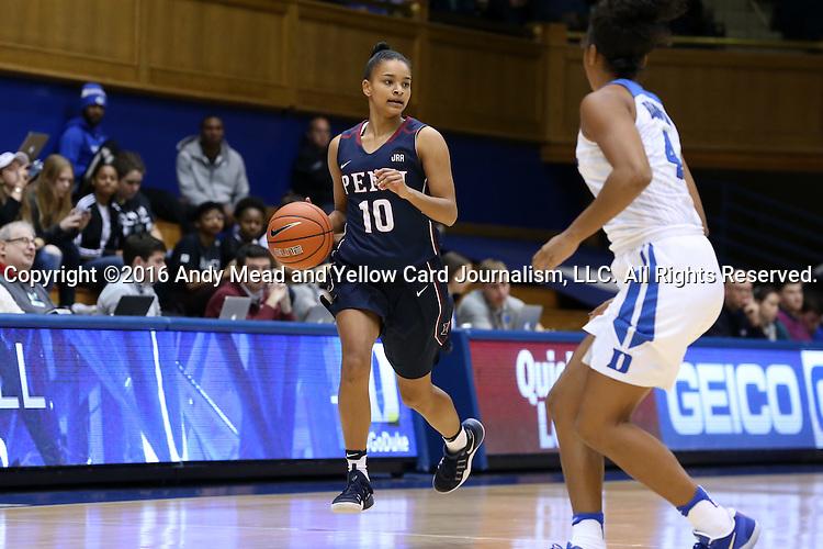 13 November 2016: Penn's Anna Ross. The Duke University Blue Devils hosted the University of Pennsylvania Quakers at Cameron Indoor Stadium in Durham, North Carolina in a 2016-17 NCAA Division I Women's Basketball game. Duke defeated Penn 68-55.