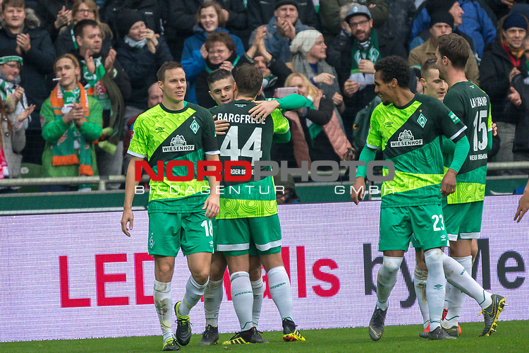 10.02.2019, Weser Stadion, Bremen, GER, 1.FBL, Werder Bremen vs FC Augsburg, <br /> <br /> DFL REGULATIONS PROHIBIT ANY USE OF PHOTOGRAPHS AS IMAGE SEQUENCES AND/OR QUASI-VIDEO.<br /> <br />  im Bild<br /> <br /> jubel 3:0 Milot Rashica (Werder Bremen #11) mit Maximilian Eggestein (Werder Bremen #35)<br /> Max Kruse (Werder Bremen #10)<br /> Davy Klaassen (Werder Bremen #30)<br /> <br /> <br /> Foto © nordphoto / Kokenge