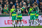 10.02.2019, Weser Stadion, Bremen, GER, 1.FBL, Werder Bremen vs FC Augsburg, <br /> <br /> DFL REGULATIONS PROHIBIT ANY USE OF PHOTOGRAPHS AS IMAGE SEQUENCES AND/OR QUASI-VIDEO.<br /> <br />  im Bild<br /> <br /> jubel 3:0 Milot Rashica (Werder Bremen #11) mit Maximilian Eggestein (Werder Bremen #35)<br /> Max Kruse (Werder Bremen #10)<br /> Davy Klaassen (Werder Bremen #30)<br /> <br /> <br /> Foto &copy; nordphoto / Kokenge