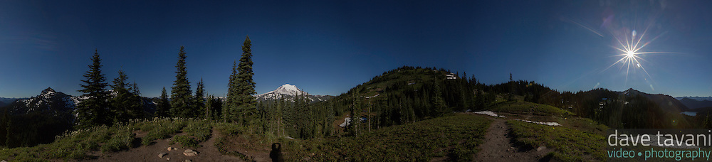 A 180º view from the high point in the Naches Peak Loop Trail in Mt. Rainier National Park.
