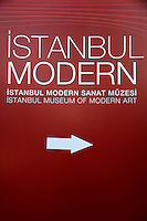 Sign for the Istanbul Modern museum in Istanbul, Turkey