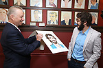 Max Klimavicius and Josh Groban during the Josh Groban Sardi's Portrait Unveiling  at Sardi's on June 2, 2017 in New York City.