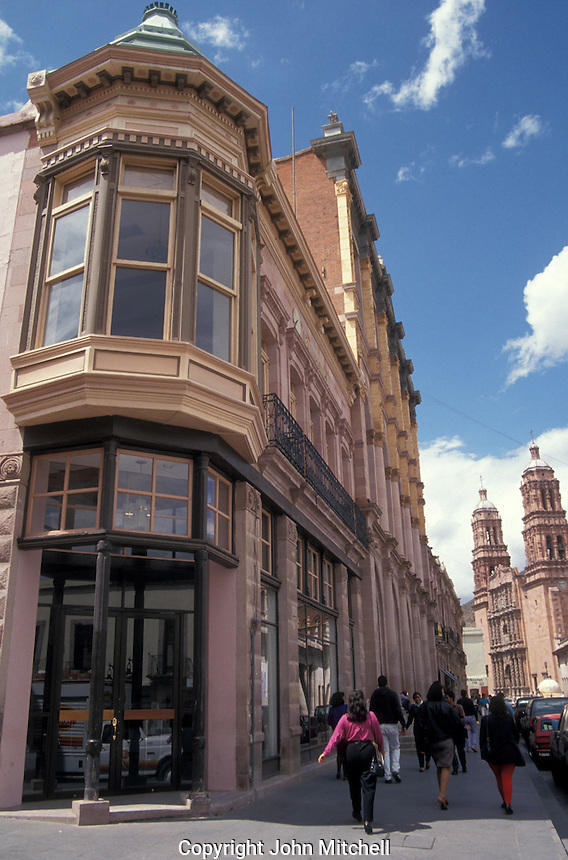 The main street in the city of Zacatecas, Mexico. The historic centre of Zacatecas is a UNESCO World Heritage site.