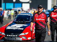 Jul 28, 2017; Sonoma, CA, USA; Aaron Brooks, crew chief for NHRA funny car driver Cruz Pedregon during qualifying for the Sonoma Nationals at Sonoma Raceway. Mandatory Credit: Mark J. Rebilas-USA TODAY Sports