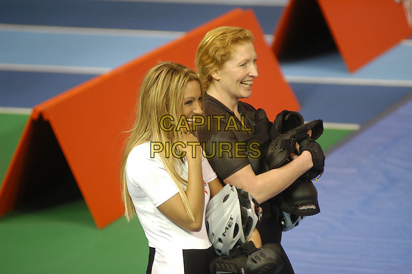 JODIE MARSH & CHARLIE DIMMOCK.The Games - Channel 4.April 12th, 2004.half length.www.capitalpictures.com.sales@capitalpictures.com.©Capital Pictures