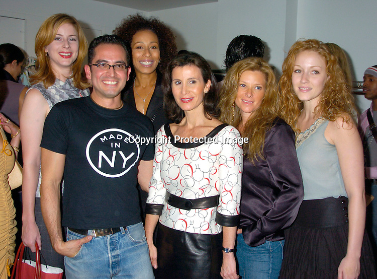 Diane Neal, David Rodriguez, Tamara Tunie, Katherine Oliver, Cady McClain and Jennifer Ferrin..at the David Rodriguez Spring 2005 Fashion Show on ..September 11, 2004 at MAO Space at the Altman Building...Photo by Robin Platzer, Twin Images
