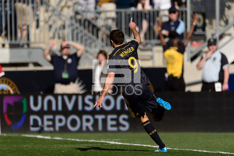 Andrew Wenger (9) of the Philadelphia Union celebrates scoring. Real Salt Lake and the Philadelphia Union played to a 2-2 tie during a Major League Soccer (MLS) match at PPL Park in Chester, PA, on April 12, 2014.