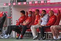 13th June 2020, Allianz Erena, Munich, Germany; Bundesliga football, Bayern Munich versus Borussia Moenchengladbach; Sporting director Hasan Salihamizic (Bayern ) with Co-Trainer Hermann Gerland (Bayern) on the bench