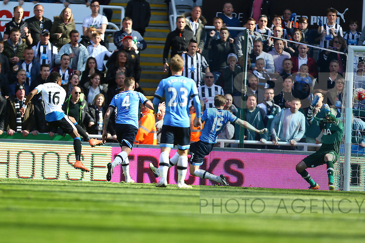 Roland Aarons of Newcastle United scores his sides fourth goal during the Barclays Premier League match at St James' Park. Photo credit should read: Philip Oldham/Sportimage
