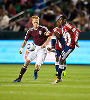 CARSON, CA – MARCH 26: Colorado Rapids midfielder Jeff Larentowicz (4) and Chivas USA forward Victor Estupinan (99) during the match between Chivas USA and Colorado Rapids at the Home Depot Center, March 26, 2011 in Carson, California. Final score Chivas USA 0, Colorado Rapids 1.