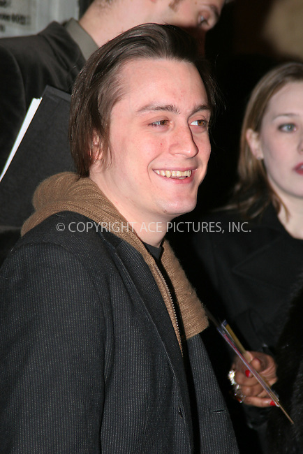 "WWW.ACEPIXS.COM . . . . .  ....March 11 2007, New York City....Kieran Culkin arriving at the opening night of ""Talk Radio"" at the Longacre theater.....Please byline: NANCY RIVERA - ACEPIXS.COM.... *** ***..Ace Pictures, Inc:  ..Philip Vaughan  (646) 769 0430..e-mail: info@acepixs.com..web: http://www.acepixs.com"