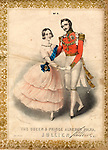 Music cover for The Queen and Prince Albert's Polka, by Louis Antoine Jullien (1812-1860).  Victoria and Albert are depicted early in their marriage, turned towards the viewer as they dance the polka.  He is wearing red, white and gold uniform with a chain and several medals.  She is wearing a pale pink chiffon dress with a bright blue sash.       Date: circa 1845