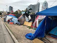 It's a common site to see homeless camps around the Austin metro aera and an especially high concentration in downtown Austin, Texas.