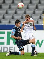 Fussball 2. Bundesliga:  Saison   2012/2013,    10. Spieltag  TSV 1860 Muenchen - FC Erzgebirge Aue  22.10.2012 Christopher Schindler  (li, 1860 Muenchen) gegen Mike Koennecke (FC Erzgebirge Aue)