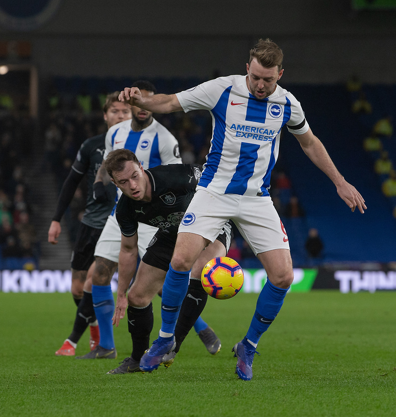 Burnley's Ashley Barnes (left) battles with Brighton & Hove Albion's Dale Stephens (right) <br /> <br /> Photographer David Horton/CameraSport<br /> <br /> The Premier League - Brighton and Hove Albion v Burnley - Saturday 9th February 2019 - The Amex Stadium - Brighton<br /> <br /> World Copyright © 2019 CameraSport. All rights reserved. 43 Linden Ave. Countesthorpe. Leicester. England. LE8 5PG - Tel: +44 (0) 116 277 4147 - admin@camerasport.com - www.camerasport.com