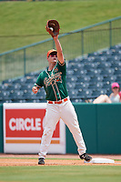 Greensboro Grasshoppers first baseman Micah Brown (10) stretches for a throw during a game against the Lakewood BlueClaws on June 10, 2018 at First National Bank Field in Greensboro, North Carolina.  Lakewood defeated Greensboro 2-0.  (Mike Janes/Four Seam Images)
