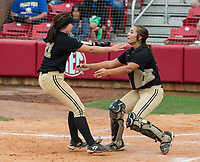 NWA Democrat-Gazette/ANTHONY REYES @NWATONYR<br /> Josie Vaught (21) runs to Jessicca Williams, both of De Queen, after the final out against Valley View Friday, May 19, 2017 in the 5A State Softball Championship at Bogle Park in Fayetteville. De Queen won 4-1.