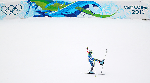 USA's Nolan Kasper celebrates his finish in the men's slalom at the XXI Olympic Winter Games Saturday, February 27, 2010 in Whistler, British Columbia.