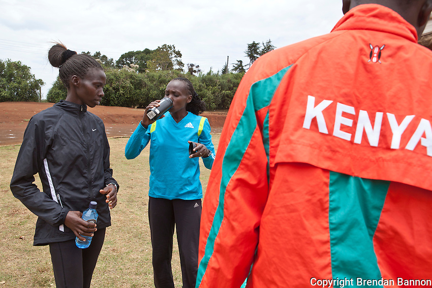 Eunice Jepkorir left, and Kenyan 5000 meter star Sylvia Kibet after training at the local track in Iten, Kenya under supervison of Kibet'shusband Erastus Limo. Kibet is hoping for a spoyt on the Kenyan Olympic team in 2012.