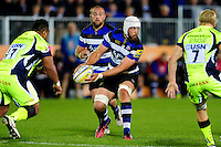 Dave Attwood of Bath Rugby looks to pass the ball. Aviva Premiership match, between Bath Rugby and Sale Sharks on October 7, 2016 at the Recreation Ground in Bath, England. Photo by: Patrick Khachfe / Onside Images